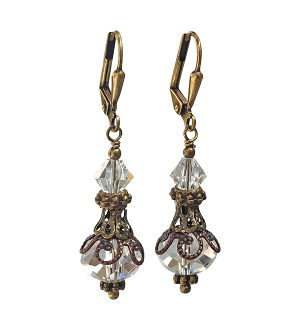 Bronze-tone Vintage Inspired Clear Crystal Boho Chic Earrings - CR182A9YC2G