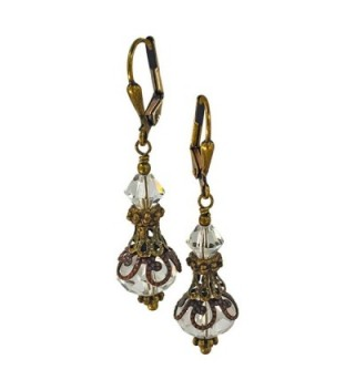 Bronze tone Vintage Inspired Crystal Earrings in Women's Drop & Dangle Earrings