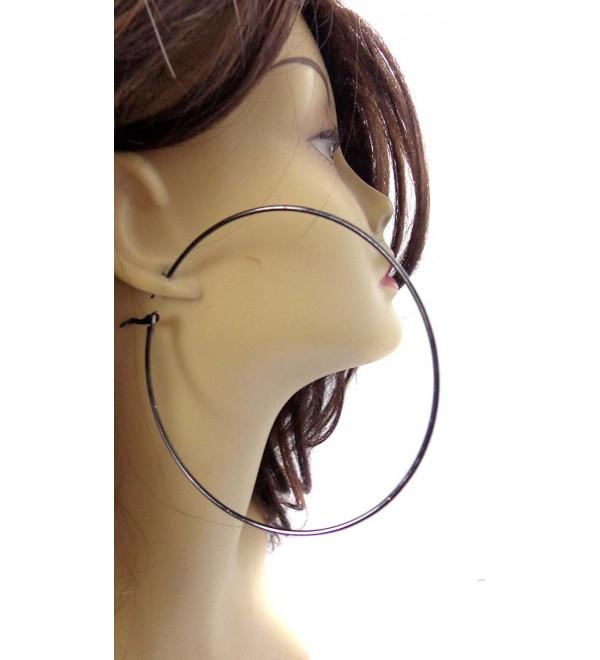 Large Black Hoop Earrings Thin Hoop Earrings Black Hoops 4 Inch Hoop - CL120H80WDV