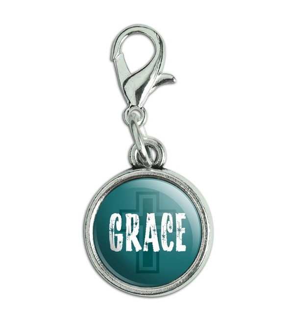 Antiqued Bracelet Pendant Zipper Pull Charm with Lobster Clasp Inspirational - Grace Religious Christian - C912MZBIRGX