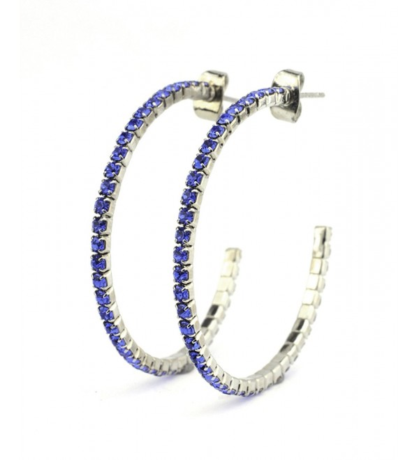 Women's Elegant Swarovski Crystal Stud 35mm Flex Pierced Hoop Earrings - Blue/Silver-Tone - CC11OFWTRZ5