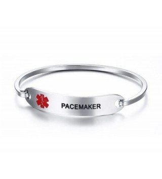 PJ Jewelry Pacemaker -Medical Alert ID Oval Fit Bangle Bracelets for Ladies With Black Deep Engraving - CA17YQXHYQ0