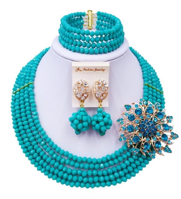 laanc 5 Rows Jewelry Set Light Aqua Blue Nigerian Wedding African Beads Bracelet - CP12OBSSLFM