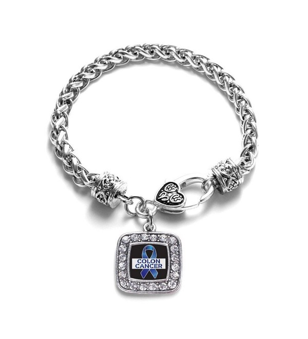 Colon Cancer Awareness Classic Silver Plated Square Crystal Charm Bracelet - CA11K6OBMJF