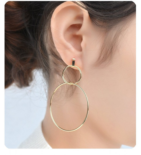 Gudukt Gold Dangling Earrings Light Weight 1 Pair Cross Drop Earrings for Women - Double Ring - CW189XMR9QO