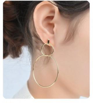 Gudukt Gold Dangling Earrings Light Weight 1 Pair Cross Drop Earrings for Women - Double Ring - CW189XMR9QO