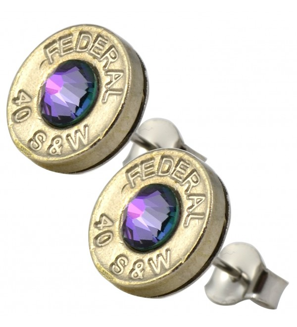 Little Black Gun Thin Nickel Plated 40 S&W Bullet Shell Crystal Stud Earrings in Iridescent Purple - CB127BOUEYV