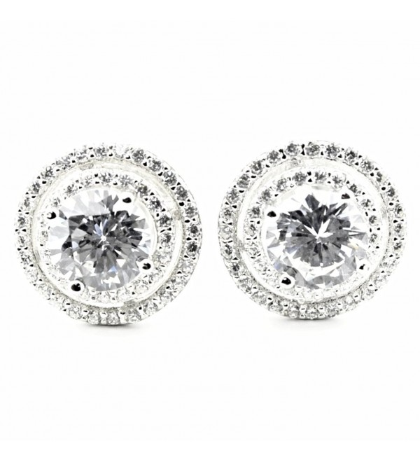 Womens Stud Earrings Large Round Halo CZ Screw Back 11.5MM Sterling Silver - CO126MG62SV
