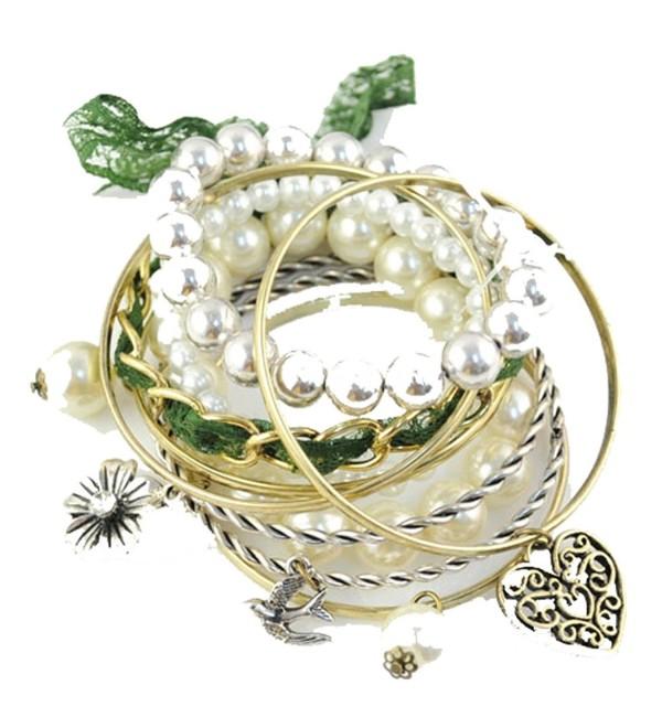 Huan Xun Multi-Strand Stretch Bracelet with Pearl Love Heart Charm Pendant - CE110ZF2LJ5
