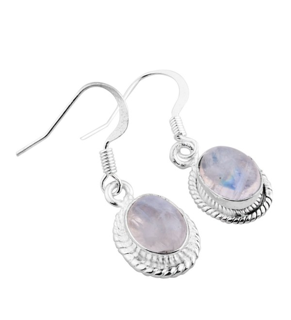 6.50ctw Genuine Rainbow Moonstone .925 Sterling Silver Overlay Handmade Fashion Earring Jewelry - CT127G4F8AF