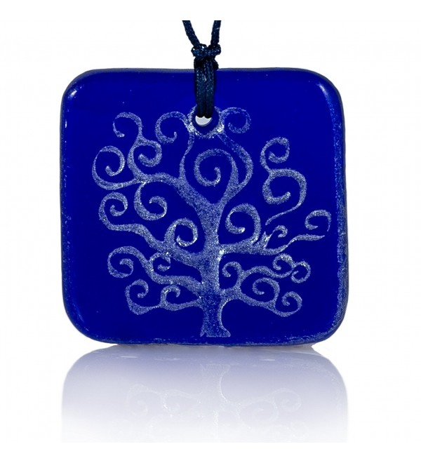 Moneta Jewelry- Recycled Glass Tree of Life Pendant Necklace- Handmade- Fair Trade- Unique Gift - Blue - CX12M120SOT