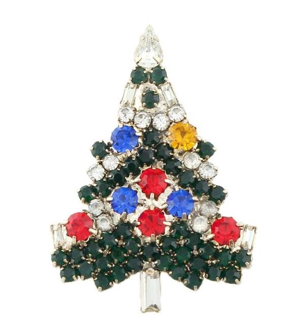 EVER FAITH Art Deco Wishing Tree Brooch Austrian Crystal Gold-Tone - Multicolor - CQ11C659WPN