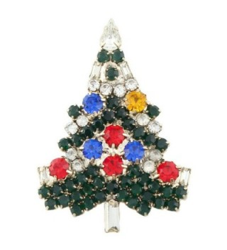 EVER FAITH Art Deco Wishing Tree Brooch Austrian Crystal Gold-Tone - Multicolor - CQ11C659WPN
