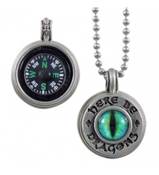 Here Be Dragons Compass Pendant with Working Compass - CX12JBKIJY5