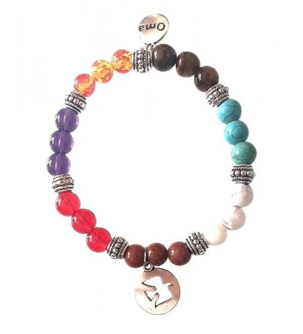 7 Chakra Semi Precious Stones Tibetan Buddhist Meditation and Healing Bracelet With Charm - OMA Brand - CX187ELL8C8