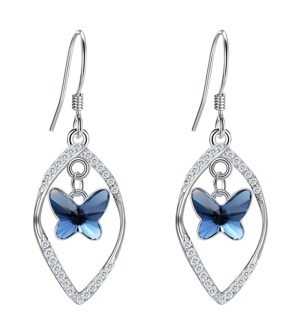 EleQueen Sterling Butterfly Earrings Swarovski - CK185OQ37DS