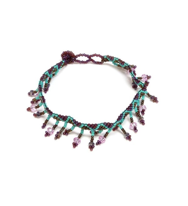 Seed Bead Crystal Fringe Anklet - Burgundy/Turquoise/Brown - CW12O0KR2SX