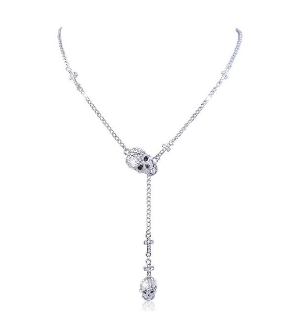 EVER FAITH 2 Skull Cross Austrian Crystal Necklace Halloween - Silver-Tone Clear - CK11II7NJE3