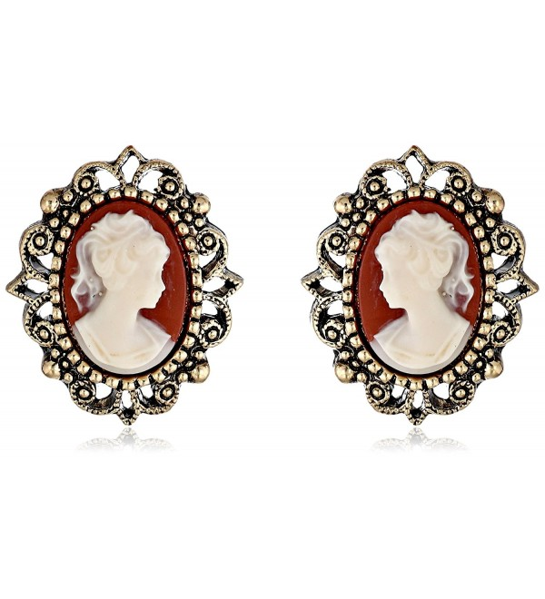 1928 Jewelry Vintage-Inspired Escapade Button Earrings - CD113O43ECH