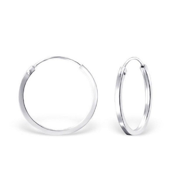 925 Sterling Silver Plain 20mm Endless Hoop Earrings 22683 - CW12DG2UM5X