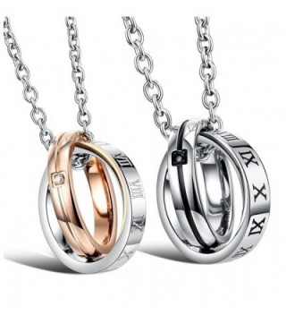 "Titanium Couple Pendant Necklace ""We Are a Perfect Match"" Love Style with a FREE Small Gift (One Pair) - C711CBMT78D"