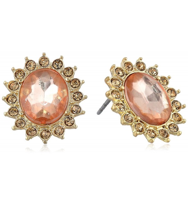 "1928 Jewelry ""Basic Classics"" Faceted Button Stud Earrings - Gold-Tone/Light Topaz - CI11F0CG6A7"