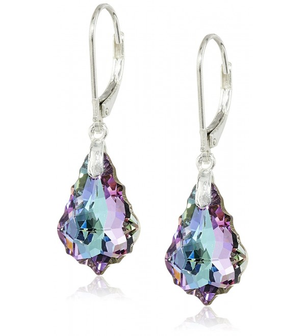 Vitrial Light Purple Swarovski Elements Crystal Sterling Silver Leverback Dangle Earrings - CC116LZJNS5
