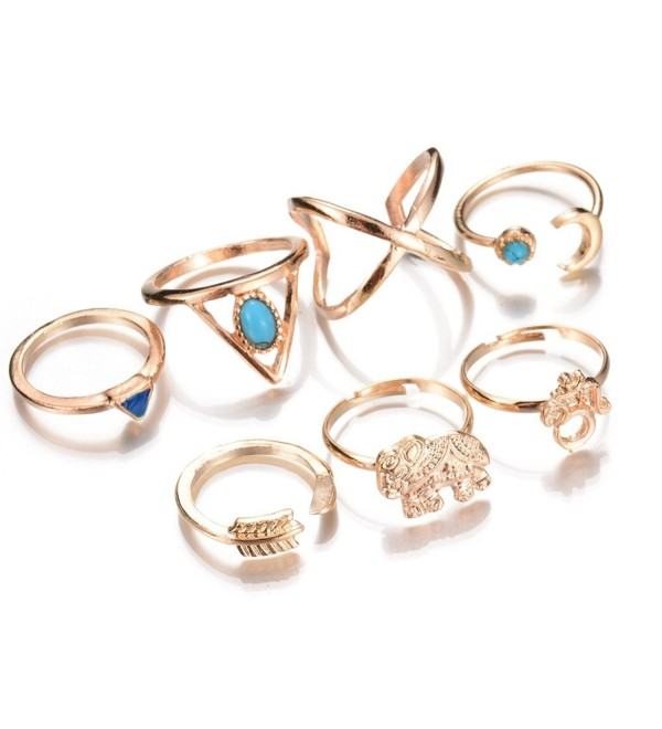 Trendy Statement Retro Style Personality Blue Stone Elephant Women's Fashion Rings Set - Gold - CY18364C6K0