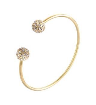 SENFAI Fashion Jewelry 3 Colors Bangles Bracelets Crystal Double Mirco Ball Cuff Bangles for Women - C312BMKMLF5
