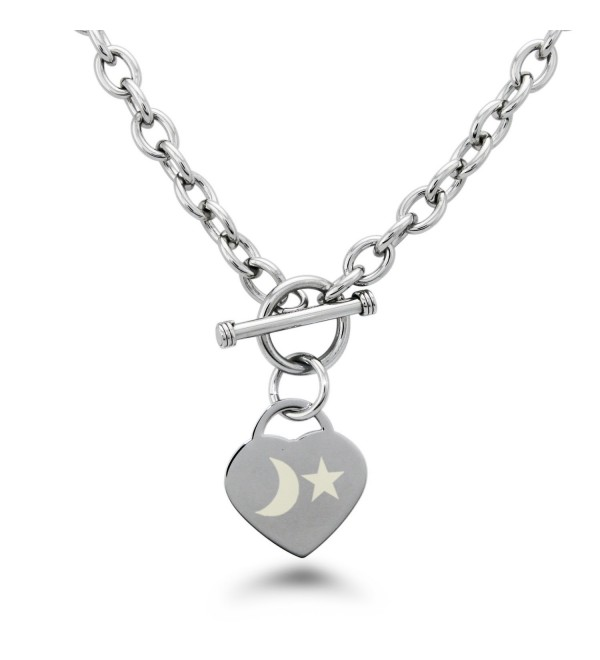 Stainless Steel Moon and Star Engraved Heart Charm Bracelet and Necklace - CG11VP5K8LH