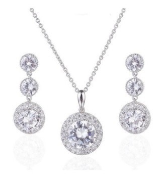 Wordless Love Gorgeous Round Halo CZ Wedding Jewelry Sets For Brides Earrings and Necklace - CC12LVN5IMB