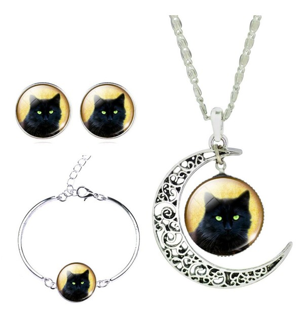 Jiayiqi Women Lifelike Black Cat New Moon Gem Necklace Bracelet Earrings Set - No1 - C1129IJYH7R