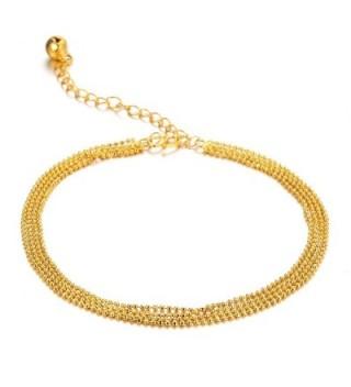 Women's Anklet Bracelet 18k Gold Plated 4 Lucky Beads and Bells Pendants Foot Chain - CJ11VSJ48VL