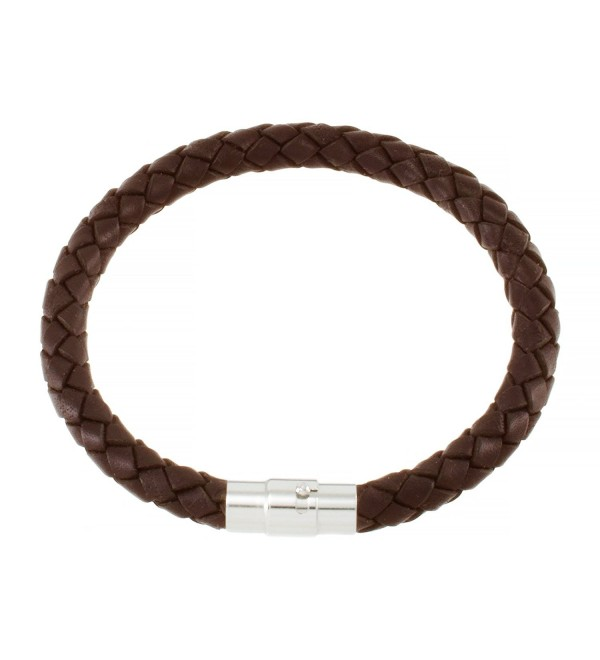 "Magnetic 5mm Brown Braided Leather Wrist Bracelet 6.5"" - C31165FHX9R"