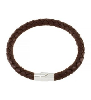 "Magnetic 5mm Brown Braided Leather Wrist Bracelet 6.5"" - C31165FHX9R"