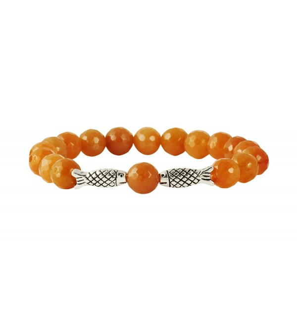 HathaFit Natural Stone 8mm Handmade Beaded Fashion Stretch Bracelet - CU12HWVYMCX