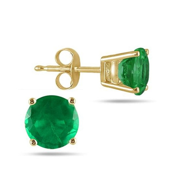 5MM Round Green Emerald Stud Earring IN 14k Yellow Gold Finish .925 Sterling Silver Alloy - C212EHYW4XH