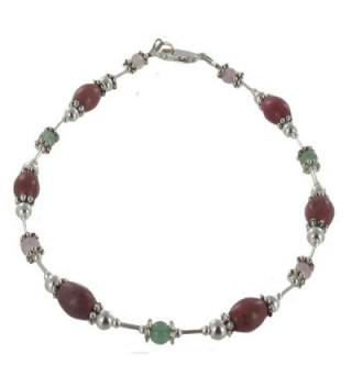 Womens Rhodonite- Rose Quartz- Aventurine & Sterling Silver Beaded Gemstone Anklet with Daisies - C811CPALYLD