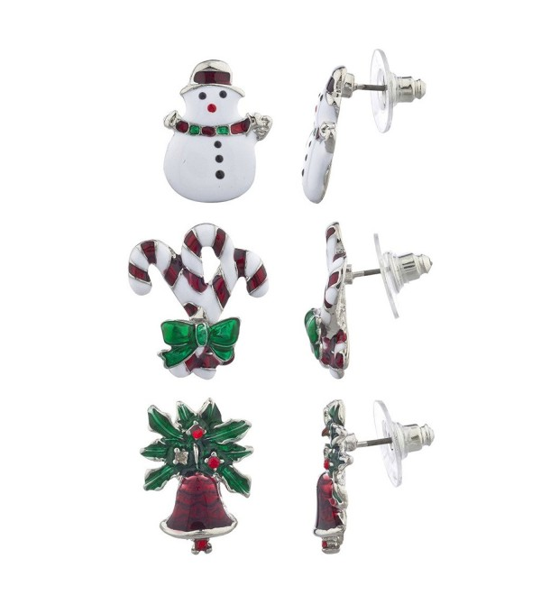 Lux Accessories Christmas X-Mas Snowman Candy Cane Bells Multi Earring Set 3PC - CJ12LV66U89