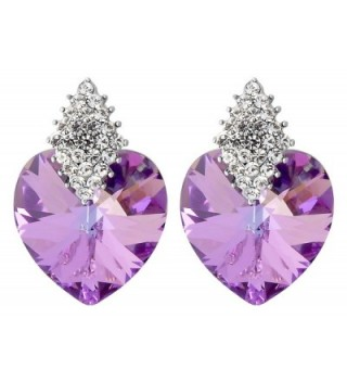 FashionCat Purple Heart 18K Silver Plated Base Purple & White Swarovski Crystals Elements STUD Earrings - C912NBWZ1VD