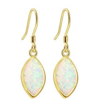 Sinlifu Gemstone Hot Women Australian Opal Silver Marquise Earring Dangle Hook Earrings - Yellow:White Opal - CR120NFHUND