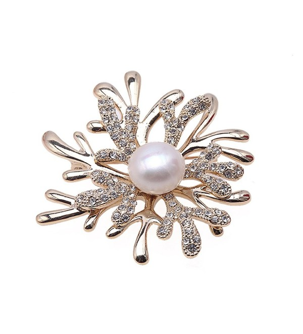JYX Flower-stye Brooch White Freshwater Pearl Brooches with Shiny Zircons - CQ12MY6XXC6