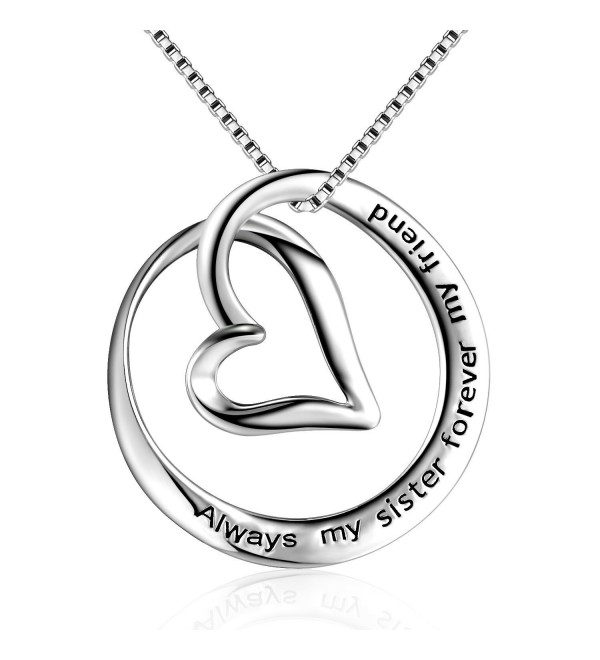 "Sterling Silver ""Always My Sister Forever My Friend"" Love Heart Pendant Necklace- 18"" - C017AAXNWYX"