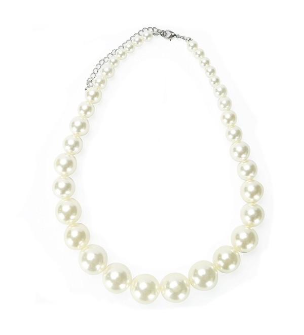 MeliMe Faux Big White Pearl Choker Necklaces Flapper Beads Wedding Jewelry for Women Mother - CL182S2SAAO
