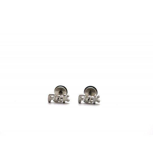 Chelsea Jewelry Basic Collections Fornication U C K Word Stud screw-back Earrings - Stainless Steel - CL12EES4SWL