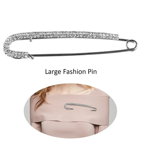 Fashion Safety Pin - Large Chic Style Brooch Pin Imitated Crystal or Simulated Pearl for Women - CL1271WQ86B