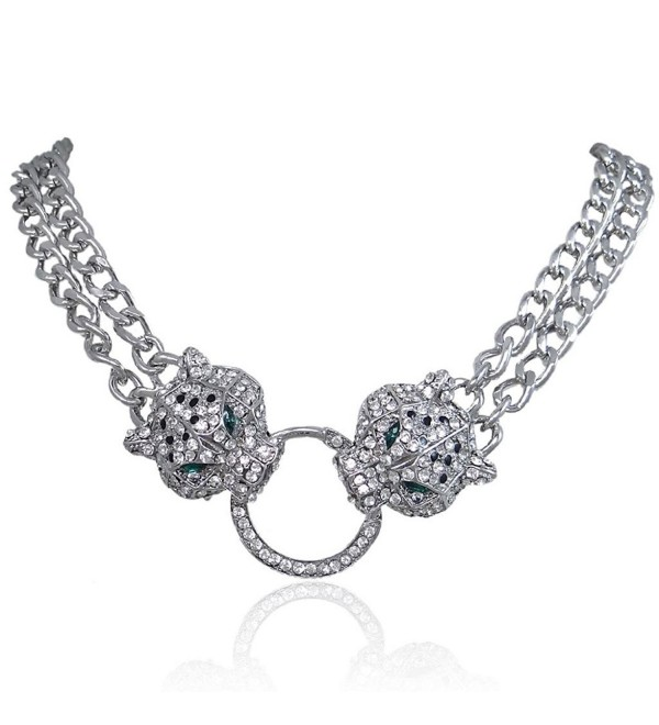 EVER FAITH Silver-Tone Dual Leopard Head Necklace Clear Austrian Crystal - CT11KFUU96H