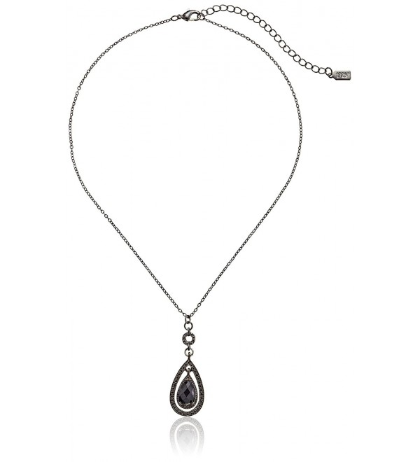 "1928 Jewelry Victorian Teardrop Pendant Necklace- 19"" - BLACK - C611642VVHB"