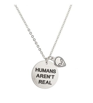 Lux Accessories Alien Head Humans Aren't Real They Exist Pendant Necklace. - CC129JUHSNF