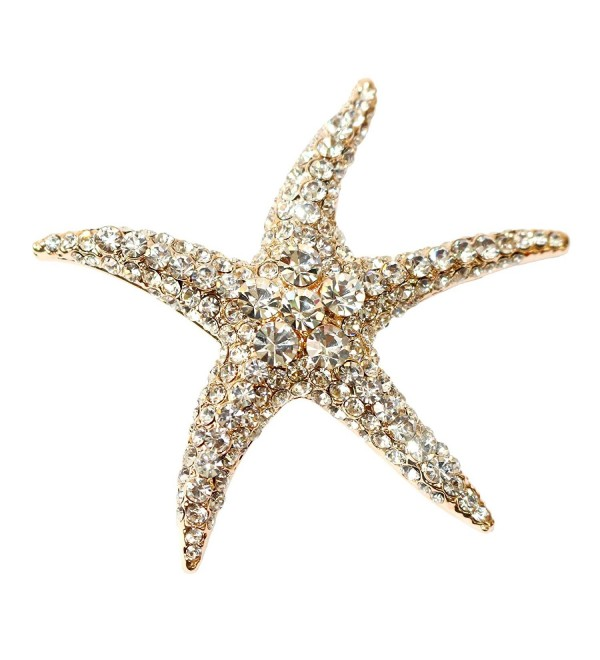 Navachi 18k Gold Plated White Crystal Starfish Az7199b Brooch Pin - CS11VYNZHX9